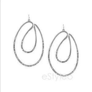 Jessica Simpson Hoop Crystal Dangle Earring Silver